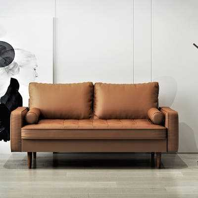 US Pride Faux Leather Mid-century Modern Sofa - Overstock