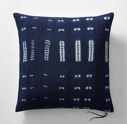 "Handcrafted African Indigo Shibori Dash Pillow Cover- 22""Sq. - No Insert - RH"