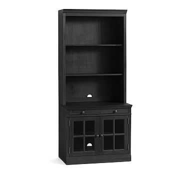Livingston Bookcase Wall with Glass Doors, Dusty Charcoal - Pottery Barn
