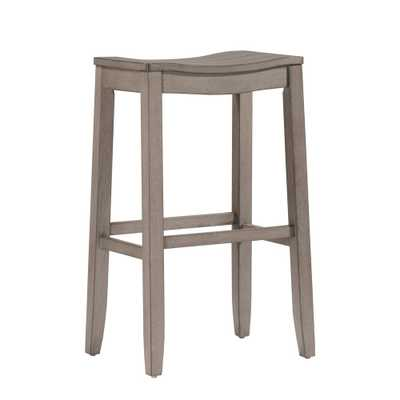 Fiddler Aged Gray Non Swivel Backless Counter Stool - Home Depot