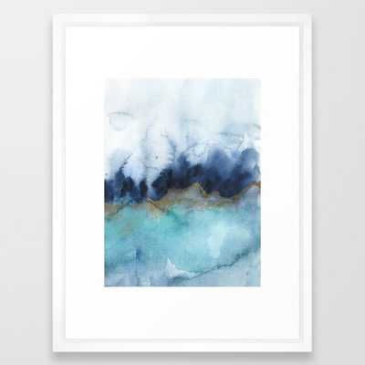 """Mystic abstract watercolor Framed Art Print- 20"""" X 26""""- Vector White - Society6"""