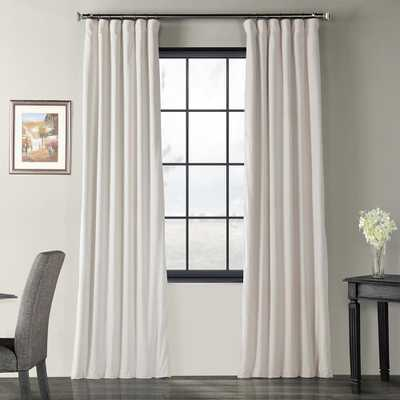 Exclusive Fabrics & Furnishings Blackout Signature Alabaster beige Blackout Velvet Curtain - 50 in. W x 96 in. L (1 Panel) - Home Depot