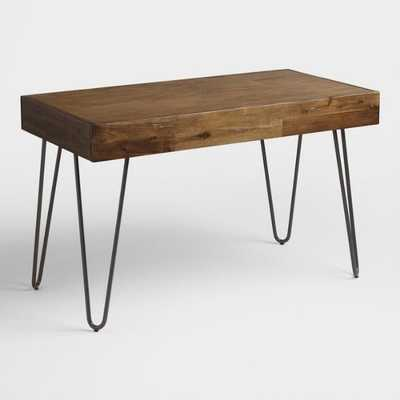 Wood and Black Metal Flynn Hairpin Desk by World Market - World Market/Cost Plus