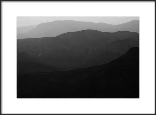 "Mountains of the Judean Desert - 28 x 20 - Contemporary - Matte Black Metal, frame width 0.25"", depth 0.75"" - With Matte - Artfully Walls"