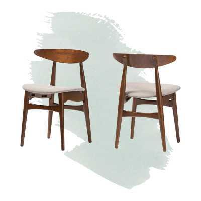 Aiden Slat Back Side Chair in Oak (Set of 2) - Wayfair