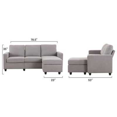 "Sylvette 78.5"" Reversible Sofa & Chaise with Ottoman - Wayfair"