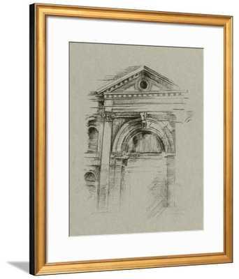 "CHARCOAL ARCHITECTURAL STUDY II -30x40"" Art Print - VERONA GOLD Frame with Mat - art.com"