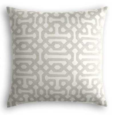 Outdoor Pillow  Sunbrella® Fretwork - Pewter - 18x18 - no trim - polyester insert - Loom Decor