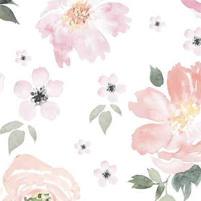 Anewall Pretty In Pink Modern Classic Pastel Floral Removable Wallpaper - Kathy Kuo Home