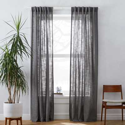 "Crossweave Curtain, Charcoal, 48""X84"" Blackout Lined - West Elm"