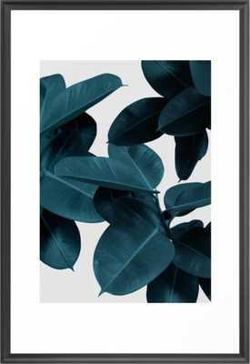 Indigo Plant Leaves Framed Art Print - Vector Black - 26x38 - Society6