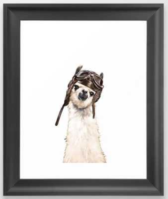 Pilot Llama Framed Art Print - Society6