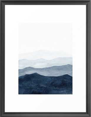 Indigo Abstract Watercolor Mountains Framed Art Print,20x26 - Society6