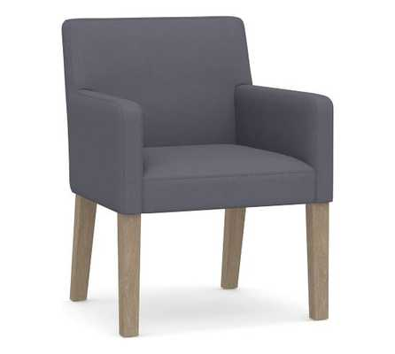 PB Classic Square Arm Upholstered Dining Armchair, Seadrift Frame, Washed Canvas Storm Blue - Pottery Barn