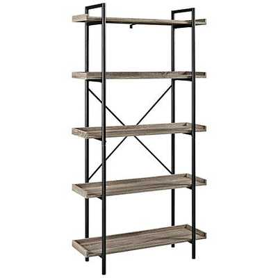 Urban Pipe Gray Driftwood 5-Shelf Bookshelf - Lamps Plus