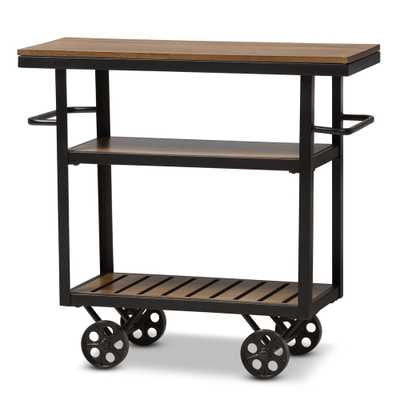 BAXTON STUDIO KENNEDY RUSTIC INDUSTRIAL STYLE ANTIQUE BLACK TEXTURED FINISHED METAL DISTRESSED WOOD MOBILE SERVING CART - Lark Interiors