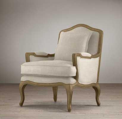 Marseilles Chair, Weathered Oak Drifted, Perennials Textured Linen Weave Sand - RH