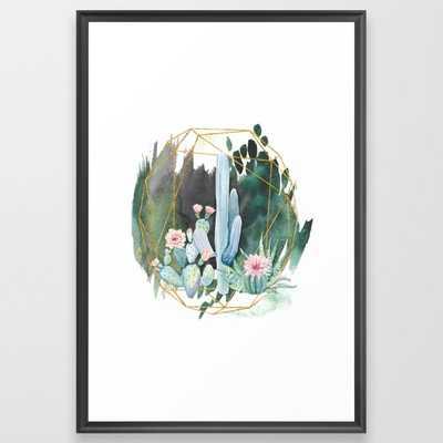 Cactus Garden Framed Art Print - Scoop Black Large - Society6