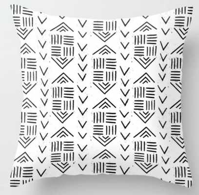 mudcloth 7 minimal textured black and white pattern home decor minimalist Throw Pillow - Society6