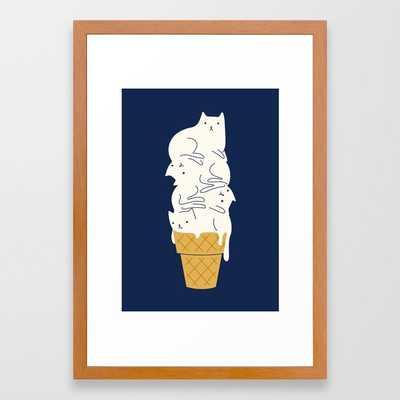 Meowlting Framed Art Print, Conservation Pecan Frame - Society6