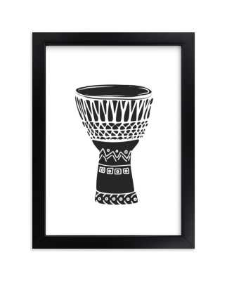 """African Drum; Frame- classic black; 5""""x7"""" - Minted"""