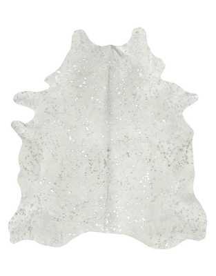 Devore Metallic Silver on White Cowhide Rug - Cowhide Imports