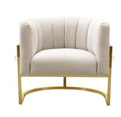 Adaline Spotted Cream Chair with Lilly Base - Maren Home