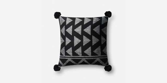 P0623 BLACK / WHITE Pillow with poly insert - Loma Threads