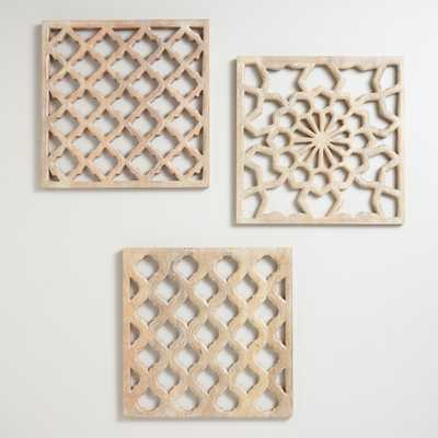 Nathan Carved Wood Wall Panels, Set of 3: Natural by World Market - World Market/Cost Plus