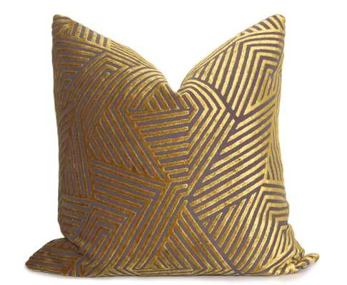 "Sun Dial Pillow Cover - Gold - 12""x20"" - without insert - Willa Skye"