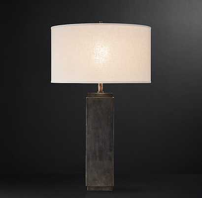 SQUARE-COLUMN TABLE LAMP ANTIQUE SILVER - RH
