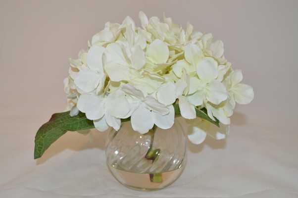 White Hydrangea in glass vase - Tisbury Vale