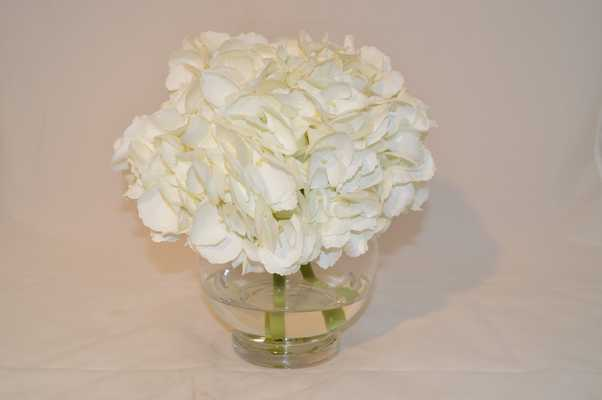 White Hydrangeas in glass vase - Tisbury Vale