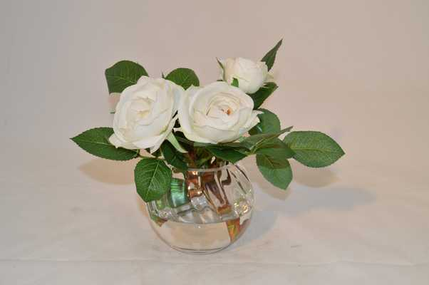 White Roses in glass vase, Sm - Tisbury Vale