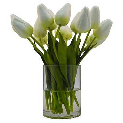 "10"" Tulips in Vase, White - One Kings Lane"