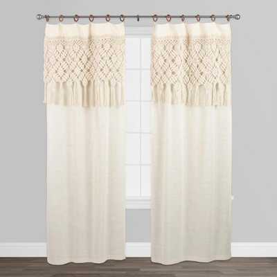 """Macrame Curtains with Removable Wood Rings Set of 2: White - Cotton  - 84"""" L by World Market - World Market/Cost Plus"""