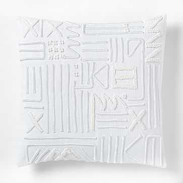 Embroidered Linework Pillow Cover, 18x18, White - West Elm