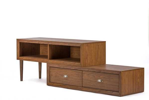 "BAINBRIDGE ""WALNUT"" WOOD CONTEMPORARY TV STAND - Lark Interiors"