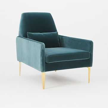 Smythe Chair, Velvet, Petrol - West Elm