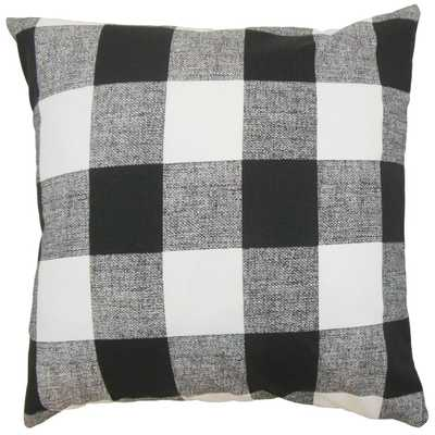 "Alfonso Plaid Pillow Black White - 18"" x 18"" - Polyester insert - Linen & Seam"