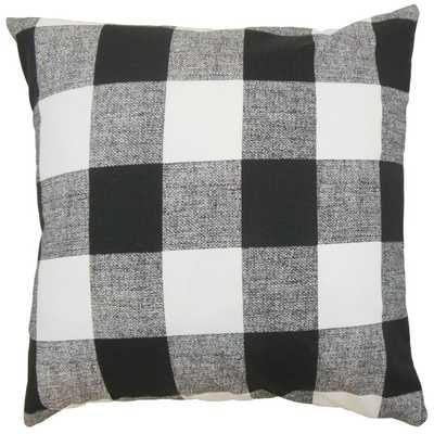 "Alfonso Plaid Pillow Black White - 18"" x 18"" - Polyester insert - Linen & Seam"