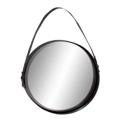 35 in. x 24 in. Iron Round-Shaped Black Wall Mirror with Hanging Strap - Home Depot