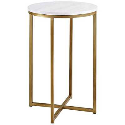 Aurelia Faux Marble Top and Gold Metal Round Side Table - Lamps Plus