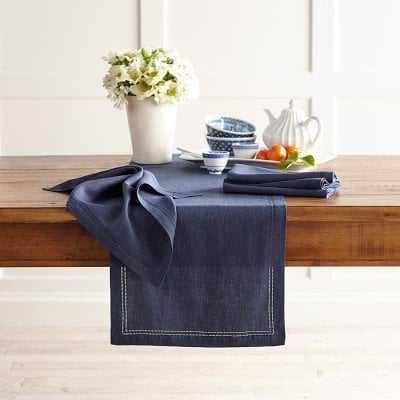Linen Double Hemstitch Table Runner, Navy Blue - Williams Sonoma