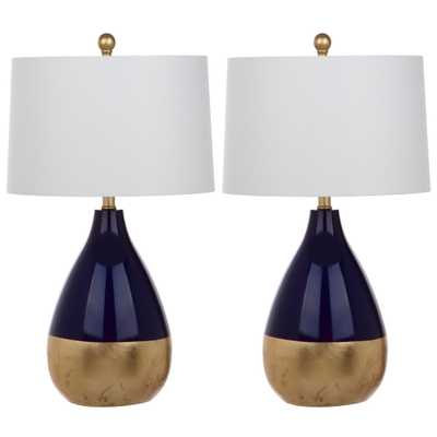 Kingship Glass Table Lamp Set of 2-Navy and Gold - Target