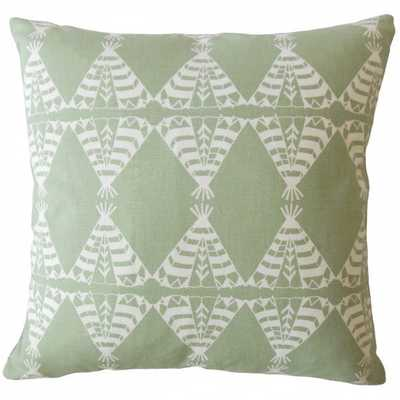 Eamhair Graphic Pillow Green, Down Insert - Linen & Seam