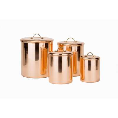 4-Piece Canister Set in Polished Copper with Knobs in Brass - Home Depot