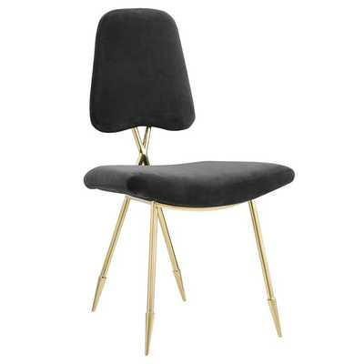 Ponder Upholstered Velvet Dining Chair in Black - Modway Furniture