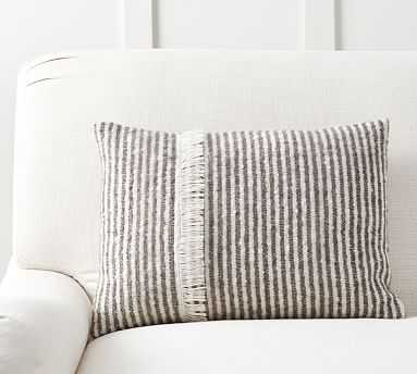 "Cozy Ticking Stripe Lumbar Pillow Cover, 14 x 20"" - Pottery Barn"