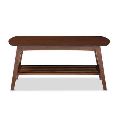 BAXTON STUDIO SACRAMENTO MID-CENTURY MODERN SCANDINAVIAN STYLE DARK WALNUT COFFEE TABLE - Lark Interiors